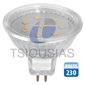 GU5,3 230V/3W Γυάλινο