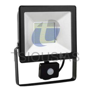 Προβολείς LED Slim 6400K με Ανιχνευτή Κίνησης
