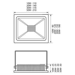Προβολείς LED Extra-Slim 4000K (Λευκός)